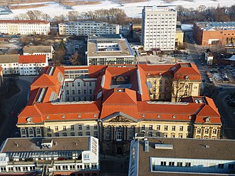 Viadrina European University - Red-tiled Viadrina main building, ex regional Government House, seen from Oderturm 2012