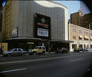 "University Theatre (Toronto) - Return of the Jedi showing at the University Theatre, with the marquee stating ""The Smash of 83"""