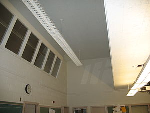 Laboratory school - Former laboratory school at the University of Wisconsin-Eau Claire, with one-way mirrors in the upper-level observation deck, allowing professors to view the classroom