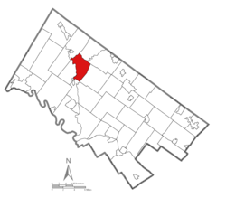 Location of Upper Salford Township in Montgomery County