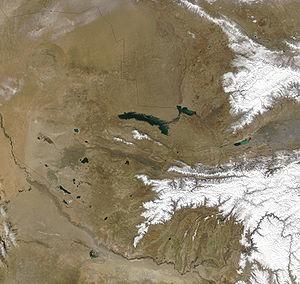 Geography of Uzbekistan - Uzbekistan, February, 2003. Red dots indicate wildfires