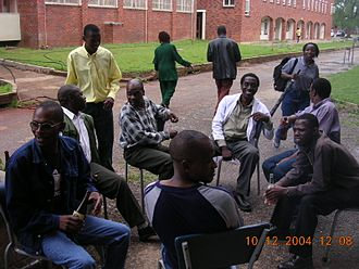 University of Zimbabwe - Social gathering on the edge of the university College Green