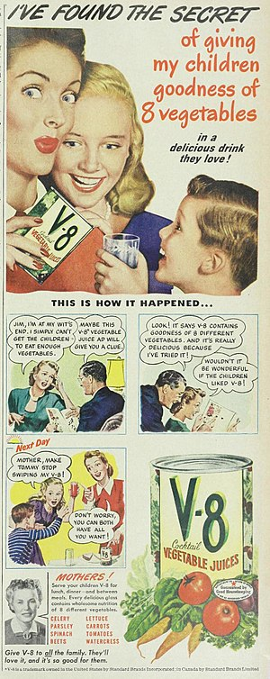 V8 (beverage) - 1947 ad for the product, from the Ladies Home Journal.