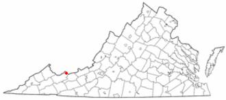 Pocahontas, Virginia - Image: VA Map doton Pocahontas