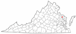 Location of Warsaw, Virginia