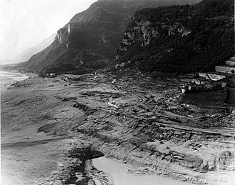 Vajont Dam - View of the village of Longarone, which was below the dam, showing the extent of the damage after the 'wave of death' had passed through.