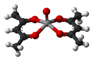 Metal acetylacetonates - A ball-and-stick model of VO(acac)2