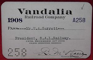 Vandalia Railroad (1905–17) - Vandalia Railroad pass (1908)