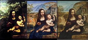 Madonna of the Yarnwinder - From left: Private collection, Madrid; Scottish National Gallery, Edinburgh; private collection (formerly Chicago)