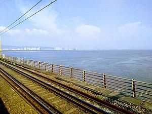 Vashi Bridge - View of Navi Mumbai skyline from the railway bridge.