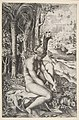 Venus removing a thorn from her left foot while seated on a cloth next to trees, a hare lower right MET DP818711.jpg