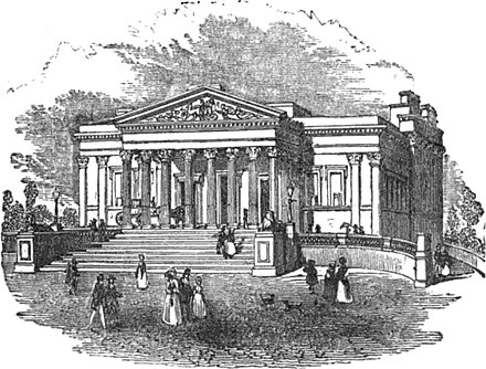An engraving of the Victoria Rooms from 1849 showing carriages using the sloping ramps Victoria rooms.jpg
