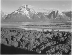 "View across river valley toward ""Mount Moran,"" Grand Teton National Park, Wyoming., 1933 - 1942 - NARA - 519908.tif"