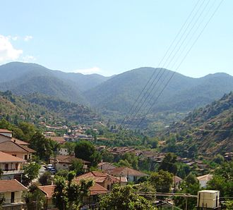Kakopetria - Image: View of Kakopetria village and Troodos Mountains in the background Republic of Cyprus