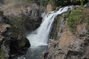 Hogenakkal Falls - View of hogenakkal falls from hanging bridge