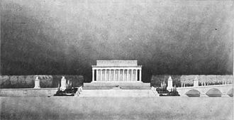 The Arts of War and The Arts of Peace - Original 1926 design for pylons rather than statuary at the Watergate Steps.