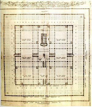 Hamburg temple model - The floor plan of the Hamburg model corresponds to the lack of outdoor gallery from the plan of Juan Bautista Villalpando: : In Ezechielem Explanationes 1604.