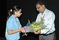 Vinay Viirale (director) being greeted at the presentation of B R Har Daur Mein Naya Daur on the occasion of 37th International Film Festival (IFFI-2006) in Panaji, Goa on December 1, 2006.jpg