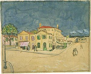 Drawings, water-colours and prints by Vincent van Gogh - The Yellow House, c. 1888, watercolour