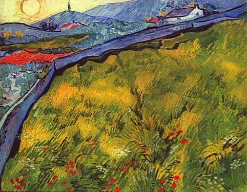 A bright squarish painting of a wheatfield, a river, houses, mountains and the rising sun.