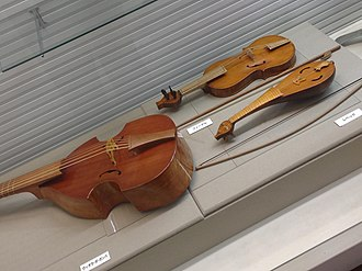 String instrument - Viol, fidel and rebec (from left to right) on display at Amakusa Korejiyokan in Amakusa, Kumamoto, Japan