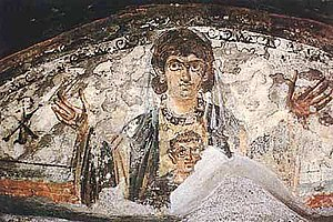 History of late ancient Christianity - Virgin and Child. Wall painting from the catacombs, Rome, 4th century.