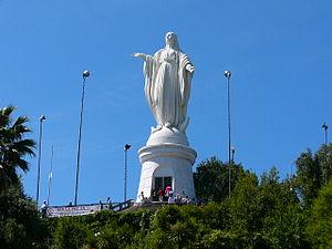 San Cristóbal Hill - Statue of the Virgin Mary on the top of Cerro San Cristóbal.