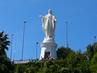 Santiago Metropolitan Park - Statue of the Virgin Mary on the summit of San Cristóbal Hill.