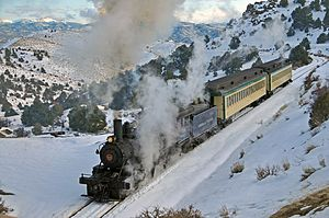 Virginia and Truckee Railroad - Winter excursion, south end of Virginia City, March 2010