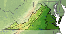 Terrain map of Virginia divided with lines into five regions. The first region on the far left is small and only in the state's panhandle. The next is larger, and covers most of the western part of the state. The next is a thin strip that covers only the mountains. The next is a wide area in the middle of the state. The left most is based on the rivers which diffuse the previous region.