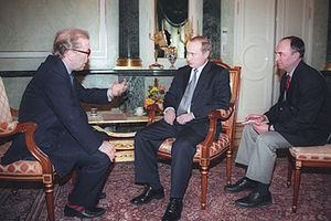 David Frost - Frost interviewing Vladimir Putin for the BBC's Breakfast with Frost in March 2000