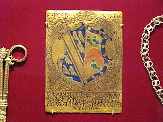 """Clarenceux King of Arms - Enamelled plaque of Thomas Tonge inscribed 1554 """"The armys of the ryght worshepful Maister Tonge otherwyse called Maister Clarencivs and mesteris Susan hys wyfe"""""""