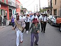 WWOZ 30th Birthday Parade Dancing Man Decatur Marigny.JPG