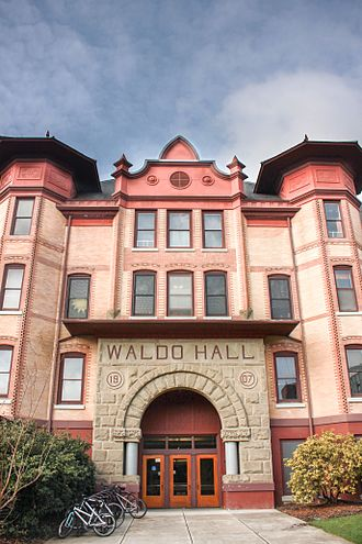 Waldo Hall - The building's front entrance in 2017