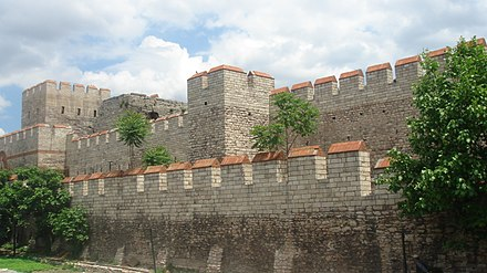 Restored section of the fortifications that protected Constantinople during the medieval period. Walls of Constantinople.JPG