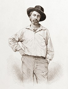 A black-on-white engraving of Whitman standing with his arm at his side