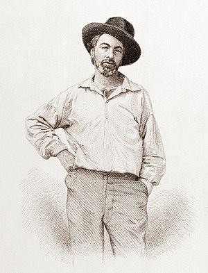 Leaves of Grass - Walt Whitman, age 35, frontispiece to Leaves of Grass. Steel engraving by Samuel Hollyer from a lost daguerreotype by Gabriel Harrison
