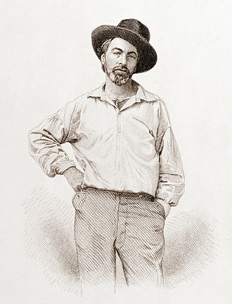 Leaves of Grass - Walt Whitman, age 37, frontispiece to Leaves of Grass. Steel engraving by Samuel Hollyer from a lost daguerreotype by Gabriel Harrison