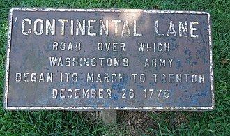 Washington Crossing State Park - Sign marking army route.