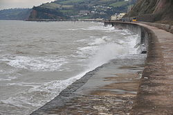 Waves breaking on the sea wall at Teignmouth (0166).jpg
