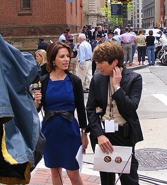 WBAL-TV - WBAL-TV reporters Deborah Weiner and Jayne Miller prepare for a live shot during the funeral of former Maryland Governor William Donald Schaefer, April 27, 2011