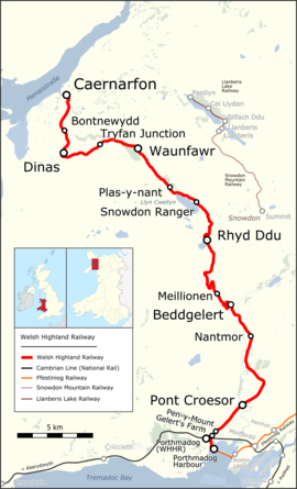 Strecke der Welsh Highland Railway