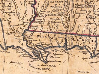 History of Mobile, Alabama - A Map of West Florida (bottom right), the U.S. (top right) and Louisiana (left), published in 1781, showing Mobile in the center of West Florida.