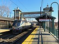 Westbound Shore Line East train at Branford station, December 2017.JPG