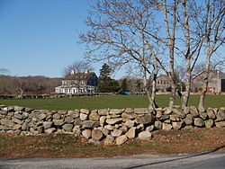 Stone wall and field scene, Westport