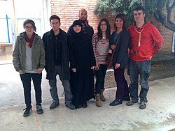 In Llotja school of art, with students and teacher. I'm the one on the right