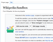 Image of the sandbox in the Wikipedia namespace showing the page title and sandbox header