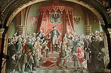 Painting of Frederick the Great standing on a dais surrounded by Silesian nobles