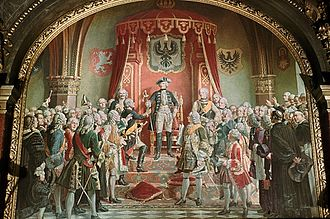 Silesian Wars - Frederick the Great receiving the homage of the Silesian estates in 1741, depicted in an 1882 painting by Wilhelm Camphausen