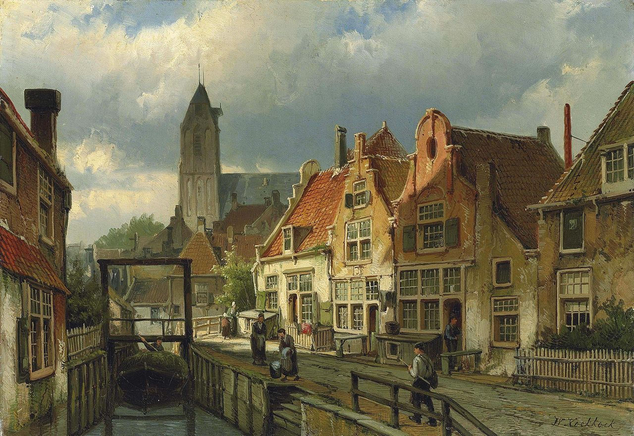 Willem Koekkoek - Figures on a Canal in Oudewater, Holland.jpg